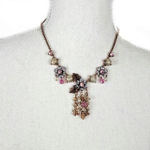 Jewelry - Enamel and rhinestone Floral Y Necklace